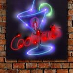Cocktails Linnen Canvas met LED