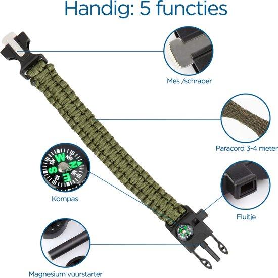 Paracord survival armband. Altijd de belangrijkste survival tools bij de hand.