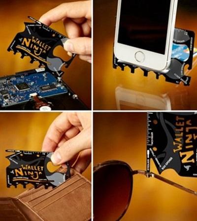 Handige creditcard tool met 18 verschillende gereedschappen.