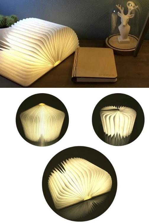 Mooie LED lamp in de vorm van een opengeslagen boek. Je kunt hem als tafellamp en als wandlamp gebruiken.