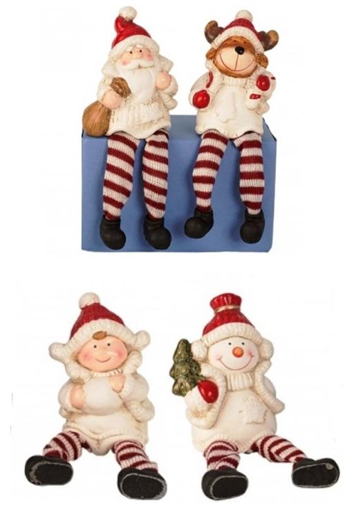 Vrolijke kerstfiguurtjes met bungel beentjes.