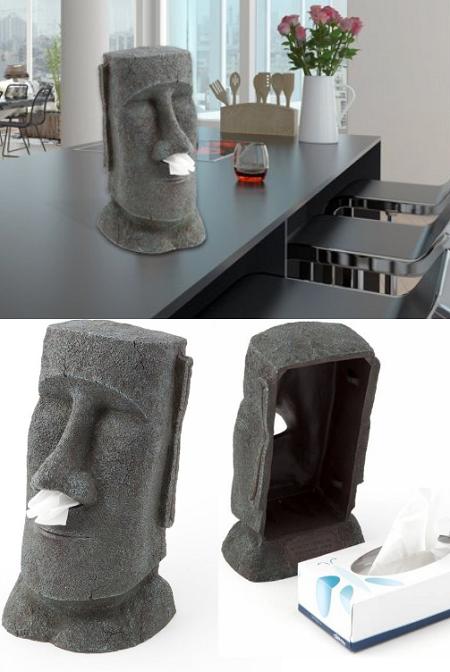 Moai Paaseiland tissue doos houder. Zeer decoratief en nog handig ook.