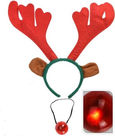 Rendier gewei diadeem met lichtgevende neus. Leuk om jezelf helemaal in de kerstsfeer te brengen.