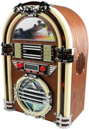 Grappige retro jukebox met am-fm radio en cd-speler. Altijd in stijl van je muziek genieten.