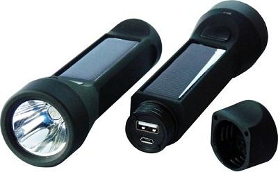 Handige solar LED zaklamp met ingebouwde powerbank. Zo heb je altijd licht bij de hand en kun je overal je telefoon opladen.