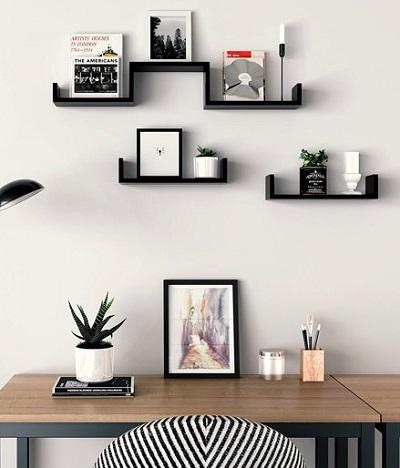 Deze zwevende wandplank set is een mooie manier om je muur op te fleuren en je foto's, verzameling of reis souvenirs op te presenteren.