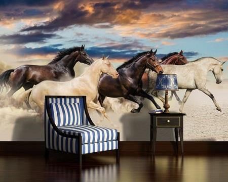 Paarden Behang Posterbehang.Fotobehang Paarden Daarom Ben Ik Blut