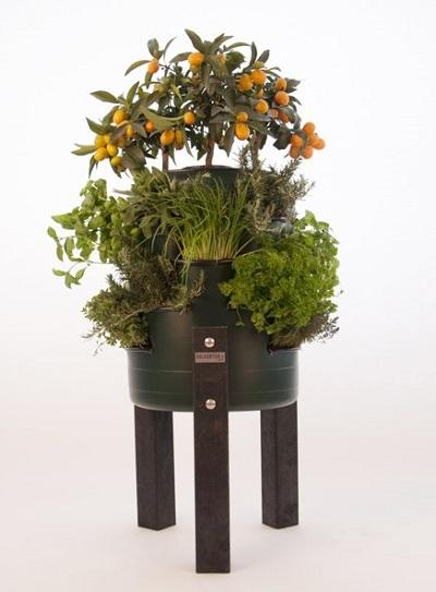 Balkonton - wormenbak met verticale tuin.