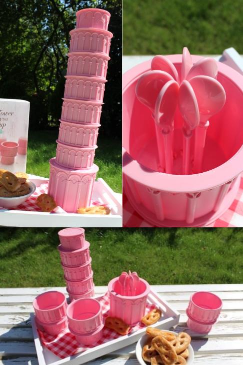 Scheve toren van Pisa beker set, bestaande uit 7 stapelbare roze bekers met lepeltjes.