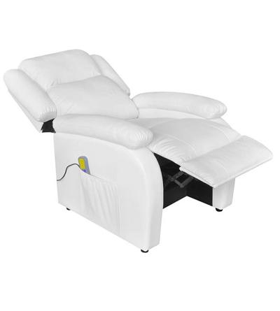 Elektrische massagestoel met verstelbare rugleuning en voetensteun en ingebouwde verwarming.