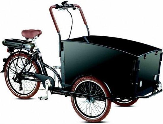 Elektrische bakfiets met drie wielen en vier-persoons bak.