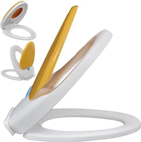 Soft-close toiletbril met zitting voor kinderen en volwassenen. Helpt kleine kinderen om makkelijker, veiliger en prettiger zelf het toilet te gebruiken.