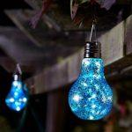 Solar Gloeilamp - Blauw met Glitter - Set van 4