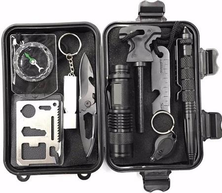 Survival multitool kit voor buiten in waterdicht doosje.