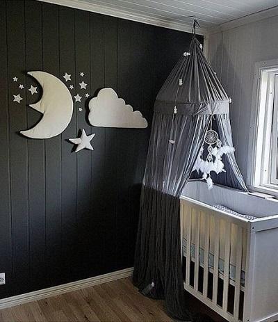 Pluche Muurdecoratie voor Kinderkamer – Maan, Ster, Wolk