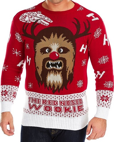 Foute kersttrui - Red nosed Wookiee