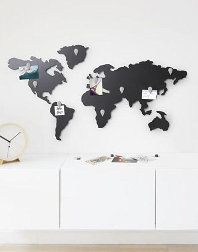 Wereldkaart magneetbord.