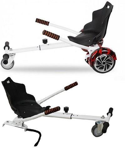 Hovercart, een handige verstelbare zitting waarmee je je hoverboard verandert in een gocart.