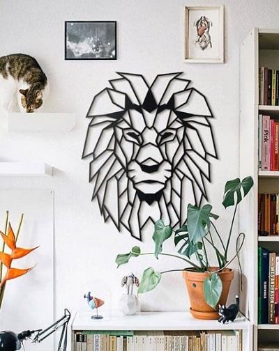 Metalen Leeuwenhoofd Wanddecoratie