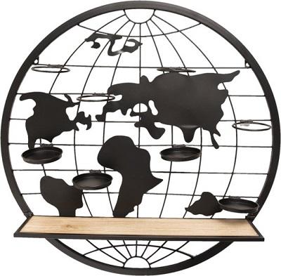 Wereldkaart wandrek. Metalen wereldbol met een plank, ringen en schaaltjes om dingen op te zetten en aan te hangen.