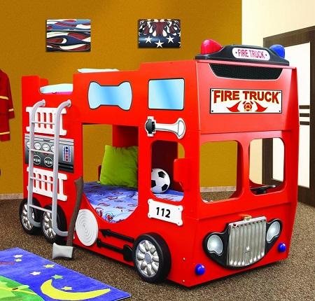 Brandweerwagen Stapelbed – Kinderbed – Incl. Matras