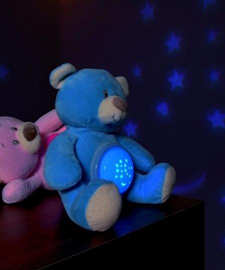 Knuffelbeertje dat een muziekje afspeelt en een sterrenhemel op de muur projecteert.