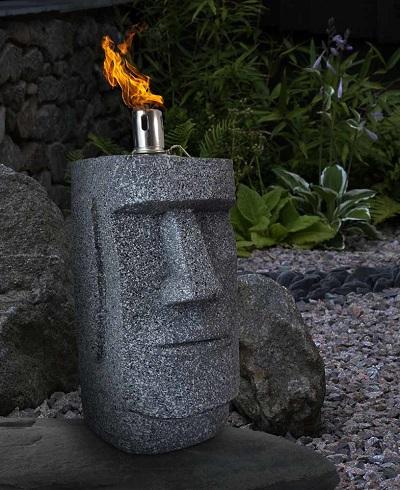 Paaseiland Moai olielamp voor in de tuin.