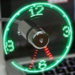 Mini USB-Fan met Klok en LED Lampje