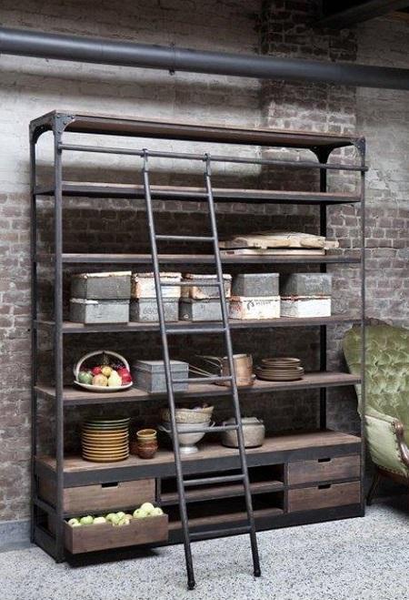 Industriële Open Kast Met Ladder