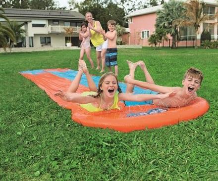 Tweepersoons waterglijmat - double slide waterglijbaan.