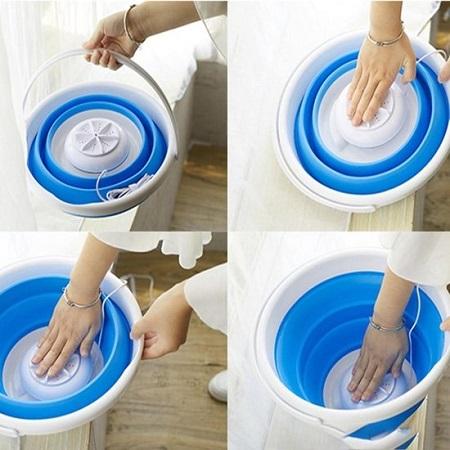 Mini opvouwbare wasmachine met motor en 24 uur batterij.