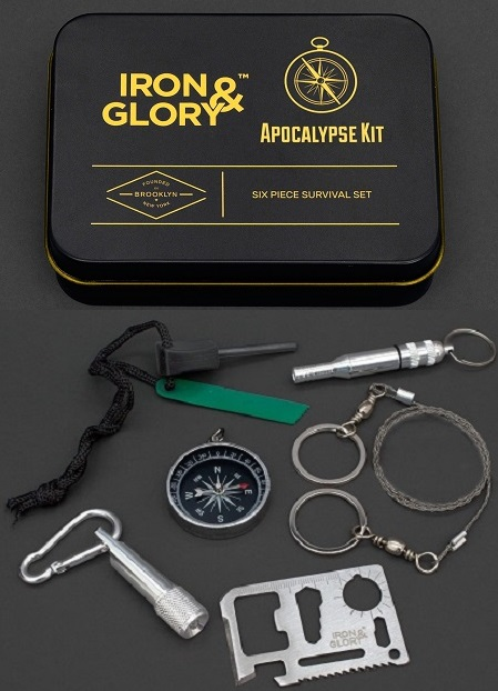 Iron & Glory Apocalypse Survival kit - 6 survival tools in een handig blikje.