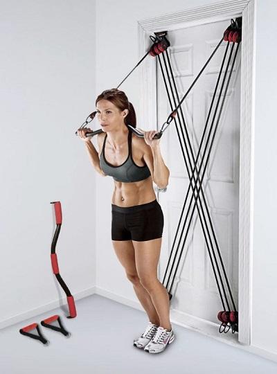 Deur Gym weerstandsbanden met halterstang en handgrepen.
