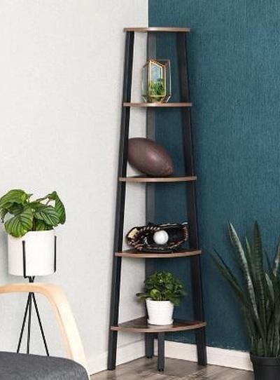 Industriële Hoekkast – Hout / Metaal – 5 Planken