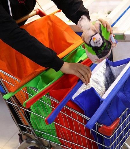 Supermarkt Organizer boodschappentassen voor in winkelwagentje met koeltas.