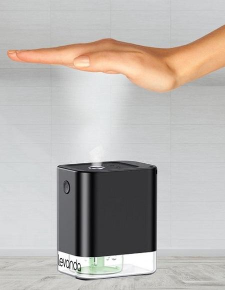 Automatische, draadloze en handsfree handalcohol dispenser. Compact tafelmodel.