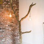 Houten Vloerlamp – Boom met 2 Lampen