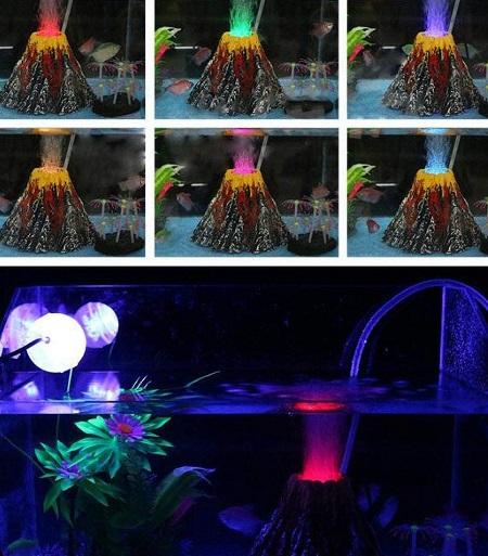 Vulkaan luchtpomp ornament voor aquarium met gekleurde LED verlichting.