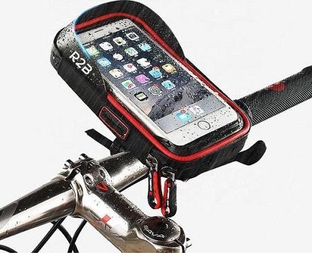 Universele waterdichte telefoonhouder voor op de fiets met opbergvakje.