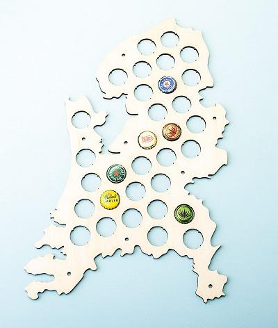 Bierdopjes kaart van Nederland.