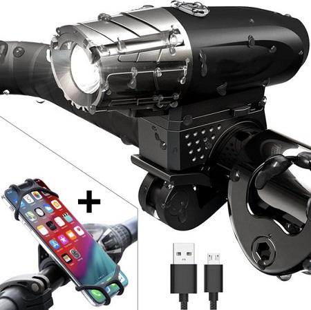 USB Oplaadbare Fietslamp – LED incl. Telefoonhouder
