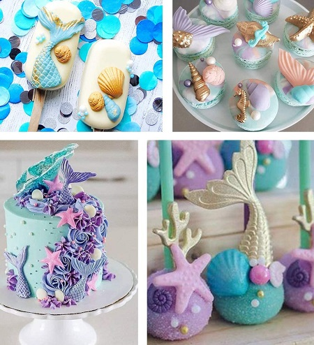 Zee wezens fondant vormpjes op taarten, koekjes en ijsjes.