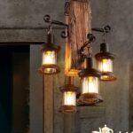 Retro Industriële Hanglamp met 4 Lantaarns