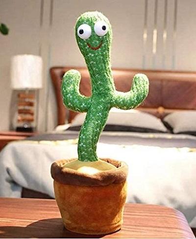 Dansende en zingende pluche cactus met LED verlichting en opnamefunctie.