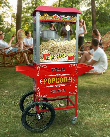 Retro Popcornmachine Met Kar