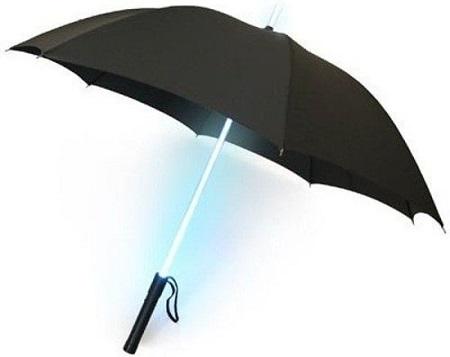 LED paraplu met verschillende kleuren licht. Zo wordt 's nachts de hond uitlaten een stuk leuker.