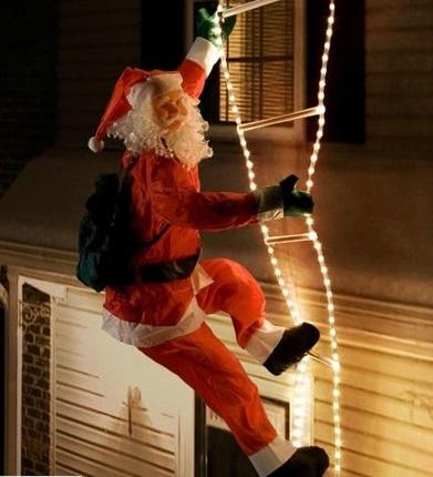 Kerstman op Verlichte Ladder voor Buiten