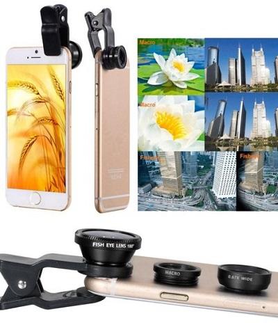 Met deze universele telelens set maak je voortaan met je smartphone de mooiste kiekjes. Zit ook een selfie stick en een tripod bij.