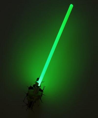 Lightsaber nachtlamp. Leuk voor jone Jedi's die nog een beetje bang zijn in het donker.