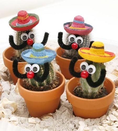 Deze Mexicaanse cactusjes zorgen met hun grappige snorren en sombrero's voor een zonnig tintje in je woonkamer.